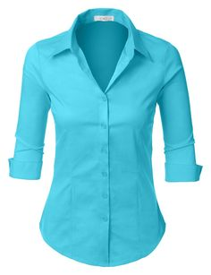 Womens Roll Up Sleeve Button Down Shirt with Stretch, XX-Large Lightweight fabric with stretch for comfort Button down placket Adjustable cuff sleeves Hand wash cold or dry clean Please look at the measurements below for guidance Red Button Down Shirt, Red Shirt, 3 4 Sleeve Shirt, Work Shirts, Look Fashion, Shirt Blouses, Blouses For Women, Ideias Fashion, Cuff Sleeves