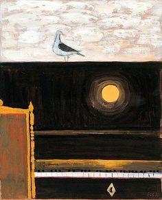 The Seagull - Elga Sesemann Finnish, Mixed media on canvas, x in, 63 x 48 cm. Mixed Media Canvas, Gouache, Surrealism, Still Life, Auction, Birds, Fine Art, Landscape, Artwork