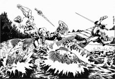 Giant Otters Tore My Flesh! (Dave de Leuw from AD&D module UK1: Beyond the Crystal Cave, TSR, 1983.)