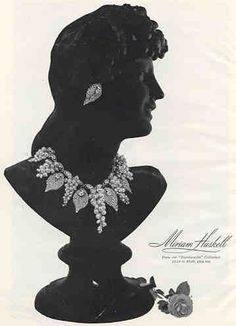 Miriam Haskell ad for Vogue Magazine 1955, for the Bacchanalia line.