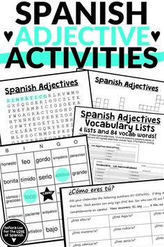 Spanish Adjective Activities for Spanish 1