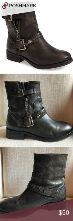 Treasure & Bond Catalina Moto Booties I love these but couldn't quite pull the look off. I've seen them on other girls and they are so fun! Purchased at Nordstrom and only worn 2-3 times.  I call the color black, but because they're supposed to have a Moto weathered look they're almost like a dark charcoal. Super cute boots! Treasure & Bond Shoes Ankle Boots & Booties