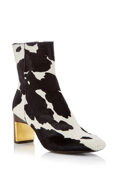 Cow Print Heeled Ankle Boot by ROSETTA GETTY Now Available on Moda Operandi