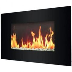 Oslo Black Electric Wall Mount Fireplace