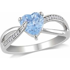 1-1/3 Carat T.G.W. Blue Topaz and Diamond-Accent Sterling Silver Cross-Over Heart Ring