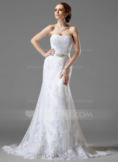 A-Line/Princess Sweetheart Court Train Beading Appliques Lace Lace Up Strapless Sleeveless Beach General Plus No Winter Spring Summer Fall White Tulle Wedding Dress