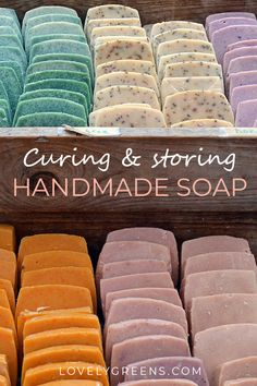 Tips on how to cure handmade soap and ideas for storing it. Curing is the process of allowing saponification to complete and for the soap to fully dry. It takes about a month to complete soap How to cure handmade soap + ideas for storing it Soap Making Recipes, Homemade Soap Recipes, Homemade Paint, Cold Press Soap Recipes, Castile Soap Recipes, Homemade Soap Bars, Homemade Playdough, Homemade Facials, Savon Soap