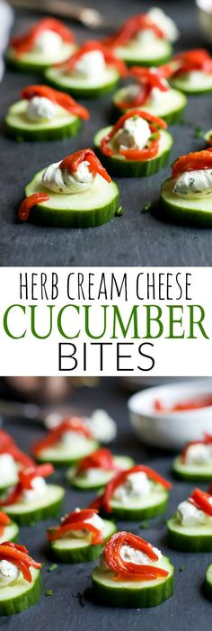 Fresh Simple Cucumber Bites topped with a zesty Herb Cream Cheese and sweet Piquillo Peppers. The perfect refreshing appetizer recipe for your next party!   joyfulhealthyeats.com #glutenfree #vegetarian