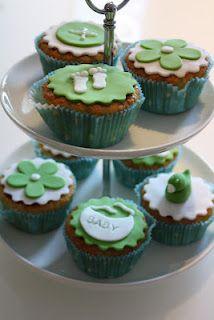Babyshower-Cupcakes green & white