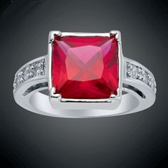 'Mesmerizing Red Ruby 18KGP Princess Ring 7' is going up for auction at  3am Mon, Aug 20 with a starting bid of $5.