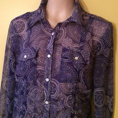 Cruel Girl Blouse Cute Cruel Girl 100% polyester button front blouse. Gathered detailing at the wrist, front and back. Navy blue and white. Breast pockets. Excellent condition. Cruel Girl Tops Blouses
