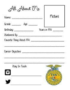 All About Me sheet for FFA Officers to put in classrooms, bulletin boards, etc. Feel free to share! First Day Of School, School Days, Middle School, My Future Career, Future Jobs, Ag Science, Life Science, Computer Science, Agriculture