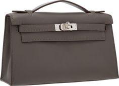 Hermes Etain Swift Leather Kelly Pochette Bag with Palladium Hardware.