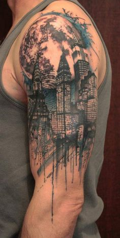 How do you like this metropolitan half-sleeve? Urban scenes can be really interesting and we like the water color drip on this one.