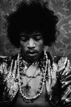 Jimi Hendrix Wearing Necklaces and Satin Shirt 1967 Hollywood, Los Angeles, California, USA