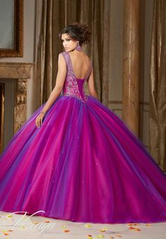 Morilee Vizcaya Quinceanera Dress 89104 JEWELED BEADING ON A LAYERED TULLE BALL GOWN Matching Stole. Available in Kelley Green/Navy, Fuchsia/Deep Purple (Color of this dress): Fushia/Deep Purple