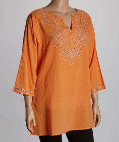Another great find on #zulily! Orange Shimmer Notch Neck Tunic - Plus #zulilyfinds