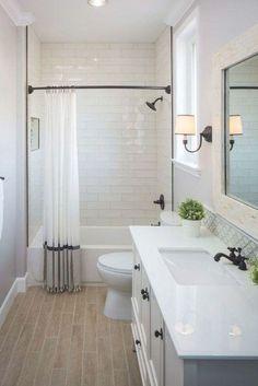 Wood Floor Bathroom, Bathroom Tub Shower, Tub Shower Combo, Master Bathroom, Bathroom Grey, Bathroom Hardware, Modern Bathroom, Tile Floor, Lavender Bathroom