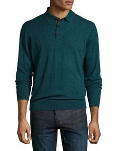N3X4H Private Label Cashmere Long-Sleeve Polo Sweater, Emerald