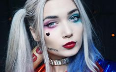Halloween makeup ideas are extremely versatile and sometimes it becomes difficult to choose the best one. Worry not, all the best looks are gathered here! Cool Halloween Makeup, Diy Halloween Costumes, Halloween Make Up, New Makeup Ideas, Diy Makeup, Cosplay Makeup, Costume Makeup, Harly Quinn Makeup, Joker Makeup Tutorial