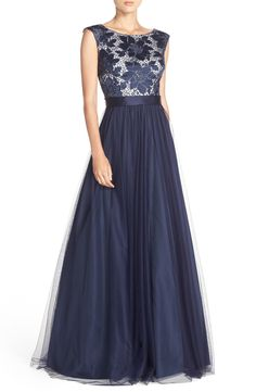 Navy blue evening gown for a wedding | Embroidered Bodice Mesh Ballgown
