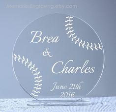 Baseball+Wedding+Cake+Topper+by+MemoriesEngraving+on+Etsy