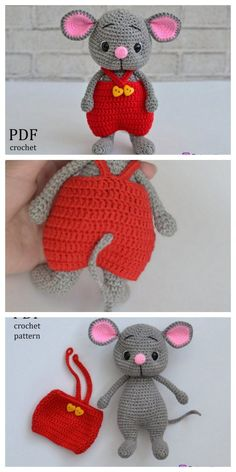 Educational and interesting ideas about amigurumi, crochet tutorials are here. Crochet Amigurumi Free Patterns, Crochet Animal Patterns, Stuffed Animal Patterns, Crochet Animals, Crochet Mouse, Crochet Dolls, Crochet Baby, Free Crochet, Amigurumi Doll
