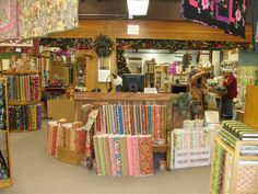 Cute reception desk at Prairie Queen Quilts, California.  Great decorations!