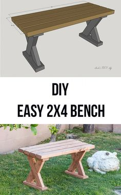 Love how easy and simple it is to build this DIY 2x4 bench. Great farmhouse or rustic look. It is the perfect 2x4 DIY project. Easy DIY 2x4 bench with plans and video tutorial. Perfect for indoor, outdoors or entryway. #outdoorfurniture #diyfurniture