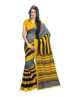 Gray and yellow with black  printed #bhagalpurisilksaree