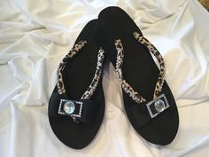 Bow Flip Flops - Cheetah & Black by BrendasCheerBows on Etsy