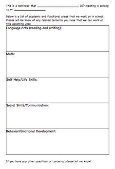 Brief questionnaire for parents?