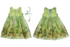 Mi Mi Sol Spring Summer 2014, green organza silk dress. #flowers #mimisol #springsummer2014 #SS14 #children #kids #childrenwear #kidswear #girls