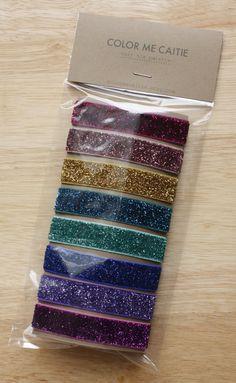 rainbow glitter hair tie palette / etsy
