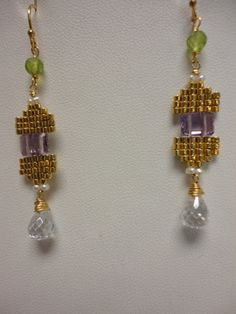 amethyst . peridot . beaded dangle earrings  by VeroniquesJewelry
