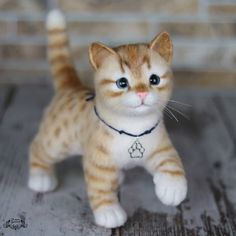 Cute Needle felted project wool animals cat(Via @katerina_gudozhnikova)