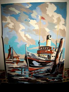 Boat paint by numbers - 1950s