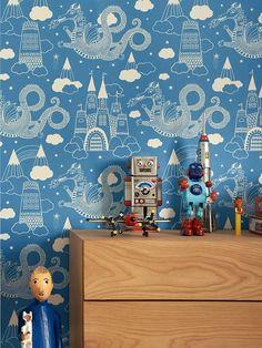 dragon sky blue kids wallpaper by bimbily | notonthehighstreet.com