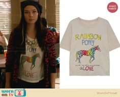 "I just want the hoodie!!! So cute!   Julia's ""Rainbow Pony"" tee and red leopard print hoodie on Star-Crossed.  Outfit Details: https://wornontv.net/30320/ #StarCrossed"