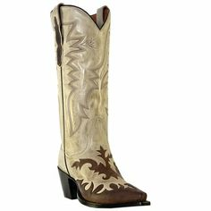 "Dan Post Wynona Beige/Chocolate Leather 13"" Cowgirl Boots DP3277"