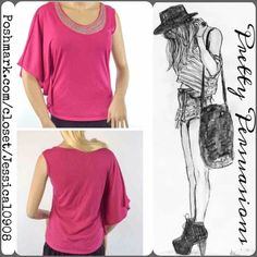 Stunning Bead Embellished Pink Flutter Sleeve Top Pretty one flutter sleeve top featuring an embellished neckline, fitted, figure flattering cut with one flutter sleeve design. Perfect for casual or dressy wear. Size small. Measurements available upon request. Thank you. Xo Tops