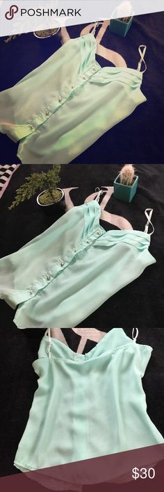 Gorgeous mint tank top xs I have a gorgeous new mint top super adorable for summer paired with white lace shorts Tops Tank Tops
