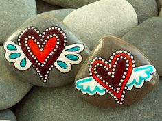 Winged Hearts Lifted Up/ Painted Rocks / Sandi by LoveFromCapeCod