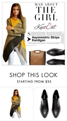 """1. KnitCat Boutique (Asymmetric Strips Cardigan)"" by shambala-379 ❤ liked on Polyvore featuring Kershaw and Maje"