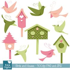 INSTANT DOWNLOAD Birds and houses  - Digital Clipart / Scrapbooking - card design, invitations, stickers, paper crafts, web design