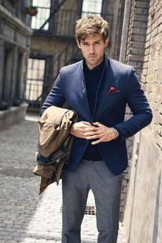 blue and grey is always right // menswear, mens style, fashion, blazer, street style