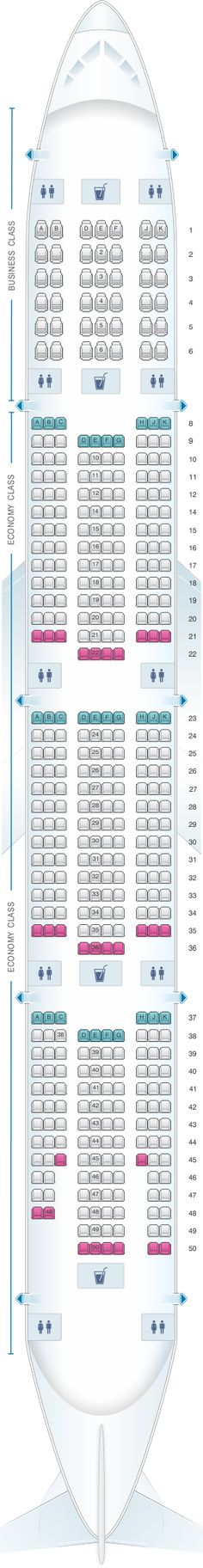 Seat Map Emirates Boeing B777 300ER two class