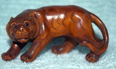 NEW! NETSUKE Asian Carved Boxwood Tiger