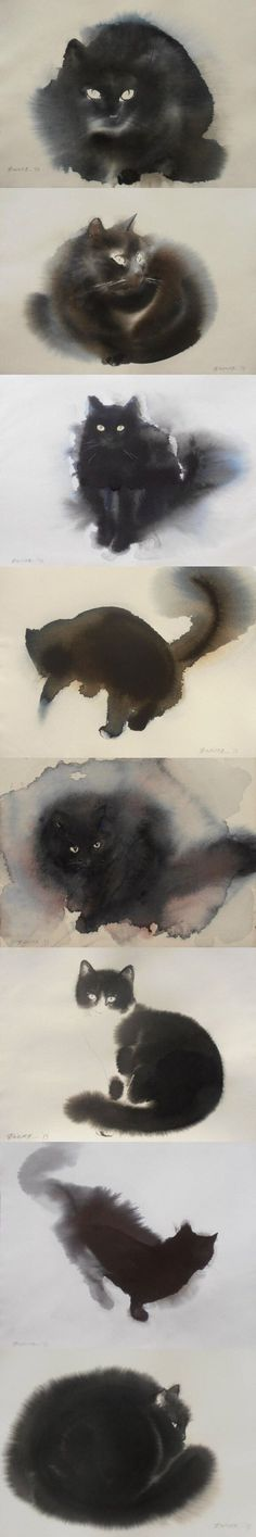Cats in Art and Illustration: Endre Penovac Animals Watercolor, Watercolor Cat, Watercolor Paintings, Cat Paintings, Watercolor Design, Tattoo Watercolor, Watercolor Ideas, Cat Drawing, Painting & Drawing
