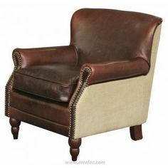 This chair exudes old school eligance with classic styling and sits incredibly well, beautifully combined with distress brown leather and ju...